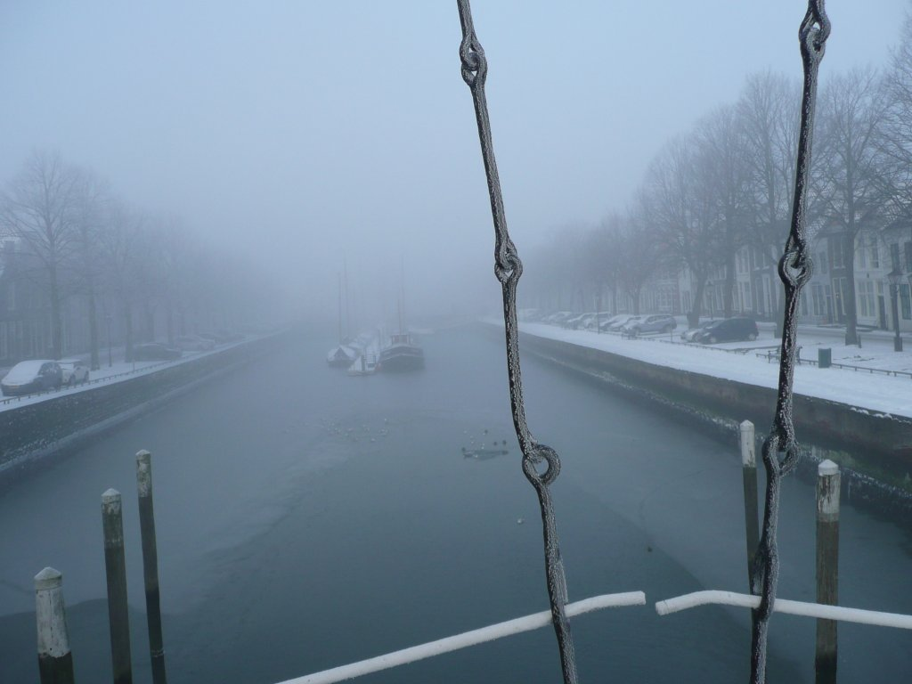 oude haven van Zierikzee in de winter
