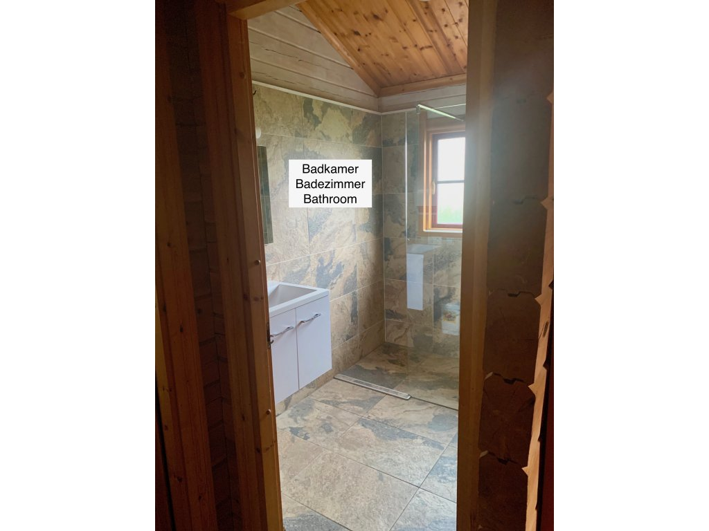 Bathroom with a walk-in shower and a washbasin.